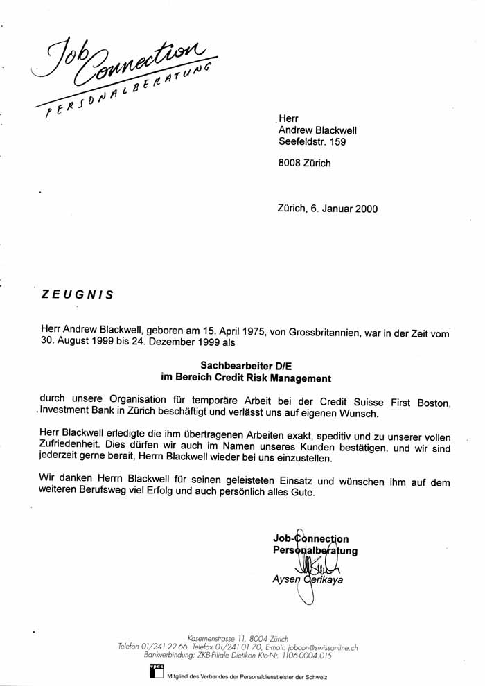 see letter of recommendation in german - Job Letter Of Recommendation